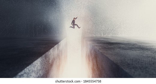 Businessman jumping over a precipice or gap. Concept of progress, ambition, overcome a problem, taking a risk. 3D illustration