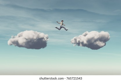 Businessman jumps on a cloud on another cloud. This is a 3d render illustration