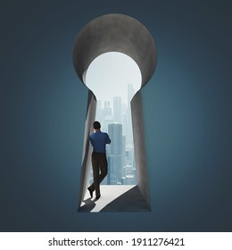 Businessman in a keyhole to a city . This is a 3d render illustration .