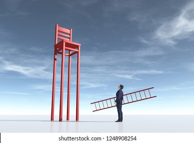 Businessman with a ladder beside a long leg chair. Aspiration concept. This is a 3d render illustration