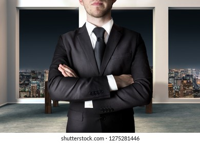 businessman in large modern apartment crossing arms gesture 3D Illustration