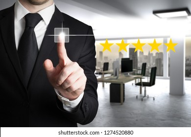 businessman in large modern office pushing virtual button four star review 3D Illustration