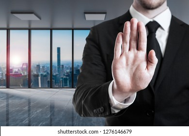 businessman in large modern office stop gesture with his hands - 3D Illustration