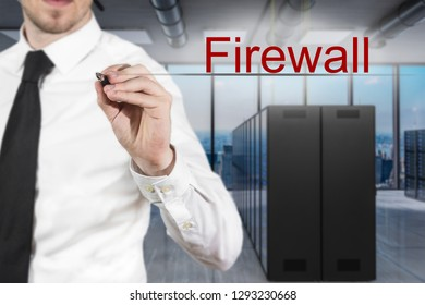 businessman in large modern server room writing firewall in the air, 3D Illustration