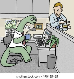 A businessman leans on a cubicle wall talking to his co-worker, who is an annoyed dinosaur.  The man is eating cake an the dinosaur is drinking coffee.