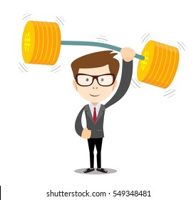 businessman lifts up heavy barbell with dollar sign. for business financial strength concept. Isolated on white background. Stock illustration