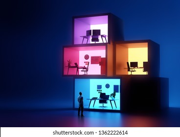 A businessman looking at glowing stacked business office workplaces. Business and jobs concept. 3D illustration