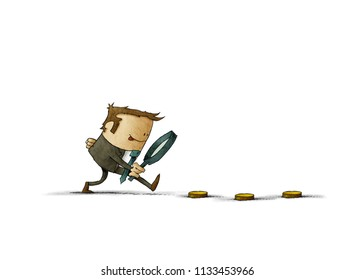 Businessman looking for money with magnifying glass. Business and finance concept. isolated