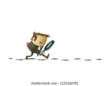 businessman with a magnifying glass investigate suspicious footprints. isolated