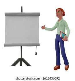 Businessman making a presentation, pointing to the screen, is participant of seminar, conference, meeting or workshop. Handmade with plasticine or clay. Isolated on white background – Illustration 3D