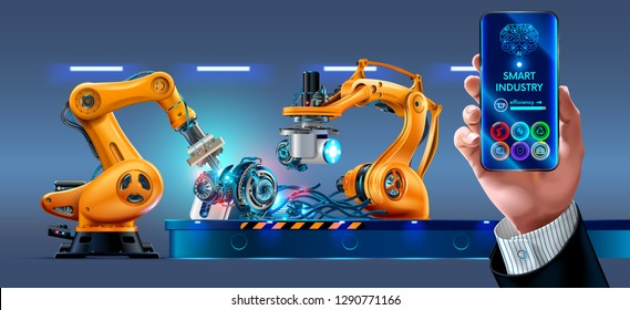 Businessman management smart factory with robotic arms and conveyor via smartphone connected to the Internet. Phone application displaying infographic and statistics of automation manufacturing.