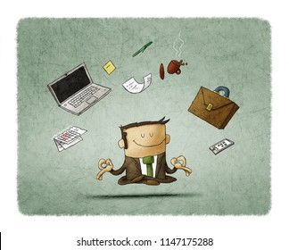 businessman meditating - time management, stress relief and problem solving concepts - man thinking about business in lotus pose.