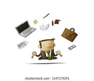 businessman meditating - time management, stress relief and problem solving concepts - man thinking about business in lotus pose. isolated