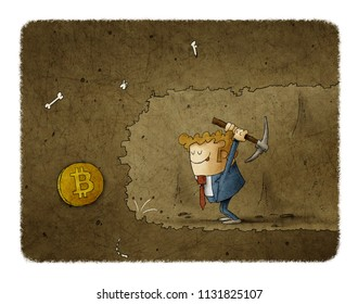 Businessman mining to find bitcoins. Business concept illustration