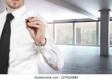 businessman in modern large empty office building writing in the air gesture 3D Illustration
