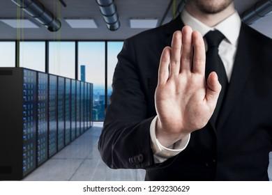 businessman in modern server room stop gesture with hands - 3D Illustration