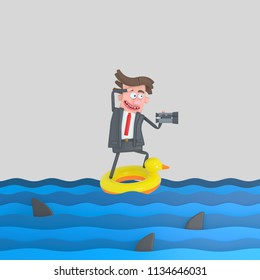 Businessman on a float on the sea. 3d illustration