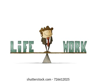 businessman on a scale in which are the words work and life. isolated, white background.