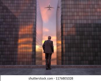 businessman on top of a skyscraper, 3d illustration