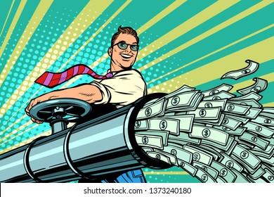 Businessman opens pipe, money Finance dollars flow. Pop art retro  illustration kitsch vintage