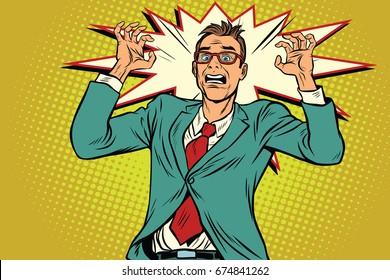 Businessman in panic, stress at work. Pop art retro  illustration