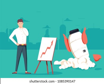 Businessman with plan and rocket crashed. Business failure, the rocket fall down. Startup rocket crash. Young unhappy man sad about launching not working project, management failed to achieve profit.