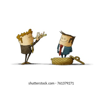 businessman plays a flute like a snake charmer, another business man comes out of the basket. concept of manipulation of people. isolated