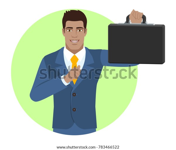 Businessman pointing at himself and holding briefcase. Portrait of Black Business Man in a flat style. Raster illustration.