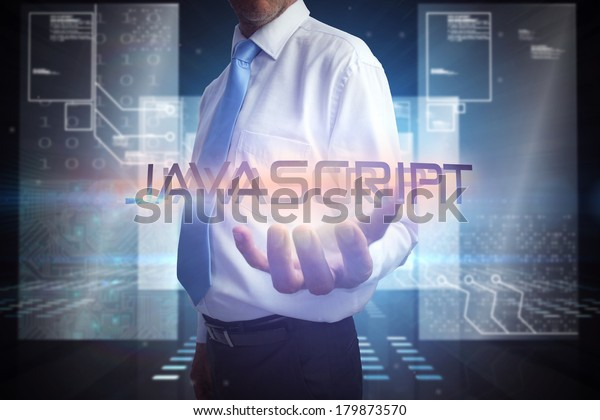 Businessman presenting the word javascript against hologram on black background with squares