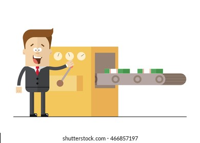 Businessman prints wads of money on the line . Isolated illustration white background . Flat picture