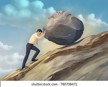 Businessman pushing a boulder uphill. Digital illustration.