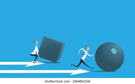 Businessman pushing sphere and leading the race against group other not so lucky guy pushing boxes. Concept of innovation in business, winning strategy, efficiency. Raster