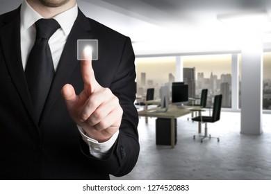 businessman pushing virtual touchscreen button modern clean office background 3D Illustration
