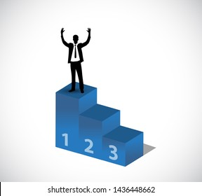 businessman raising hands in top of a podium isolated over white