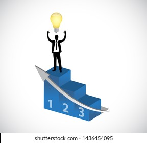 businessman raising hands in top of a podium with lightbulb isolated over white