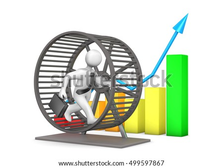 Businessman Rat Race Growing Chart On Stock Illustration 499597867