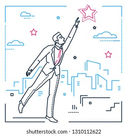Businessman reaching out the star - line design style illustration on white urban background with city silhouettes. Metaphorical image of a smart young man trying to touch the sky, pursuing his goal