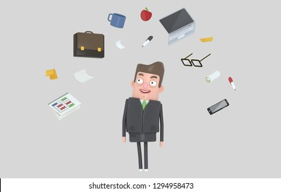 Businessman relaxing looking at office accesories. Isolated. 3d illustration