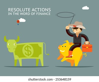 Businessman riding on a golden pig catches dollar bull. Fundraising concept