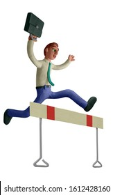 Businessman running over hurdle, business, challenge, risk, obstacle concept. Handmade with plasticine or clay. Isolated on white background – Illustration 3D