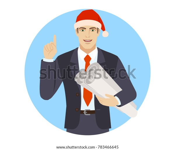 Businessman in Santa hat pointing up and holding the project plans. Portrait of businessman in a flat style. Raster illustration.