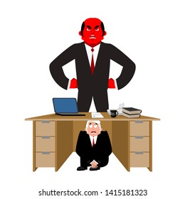 Businessman scared under table of angry Boss. deadline. frightened business man under work board.