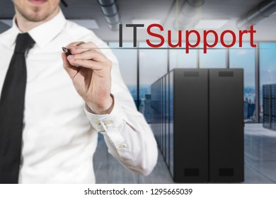 businessman in server room writing it support in the air, 3D Illustration