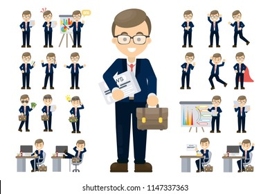 Businessman set illustration. Poses and meeting, data and hero.