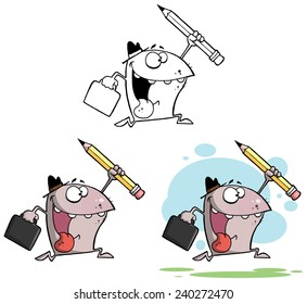 Businessman Shark Running With A Briefcase And Pencil. Raster Collection Set