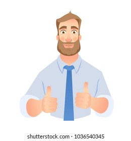 Businessman show thumb up. Thumbs up business