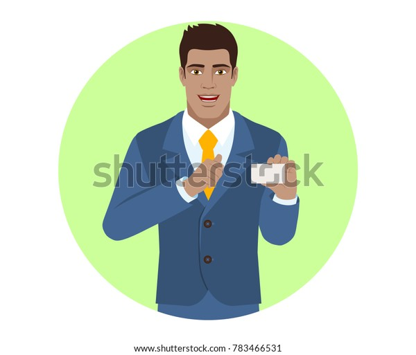 Businessman showing the business card and pointing at himself. Portrait of Black Business Man in a flat style. Raster illustration.