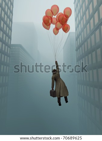 businessman soaring on balloon in city