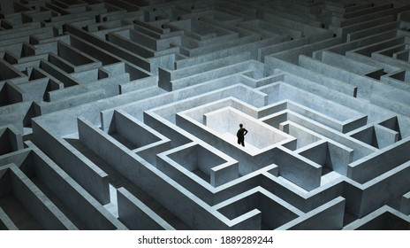 Businessman stand in front of maze entrance. Business problem solving, making decision, finding solution and challenge concept.