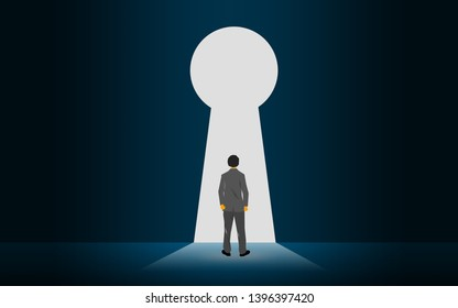 Businessman standing against keyhole on the wall, 3D rendering